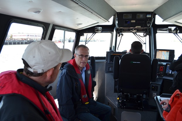 Huffman was joined by Harbor District commissioners Mike Wilson and Larry Doss. Bar Pilot Tim Petrusha piloted the fire boat shared by the Harbor District and Humboldt Bay Fire. - GRANT SCOTT-GOFORTH