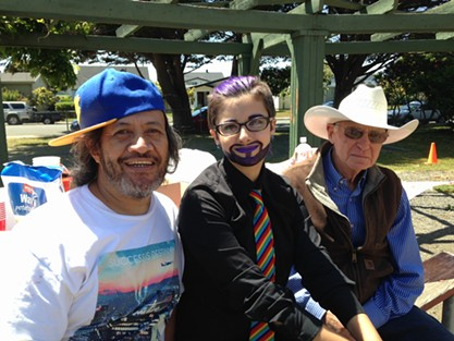 Chad Duran, Mason Trevino and Bill Shapeero at the Pride Picnic in Carson Park on Sunday. - JENNIFER FUMIKO CAHILL