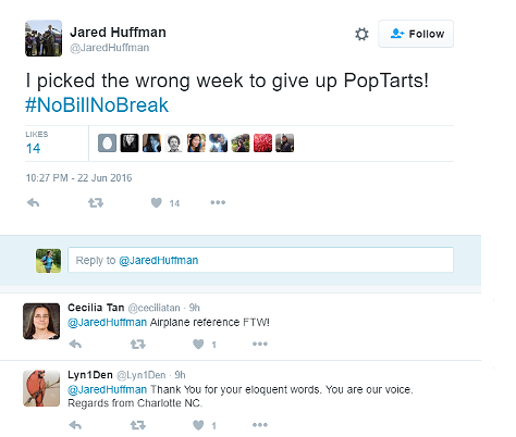 Huffman cracked wise throughout the protest using social media. - TWITTER