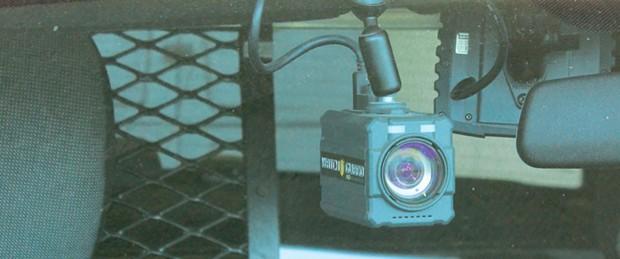 The dash camera in a Eureka Police Department patrol car.