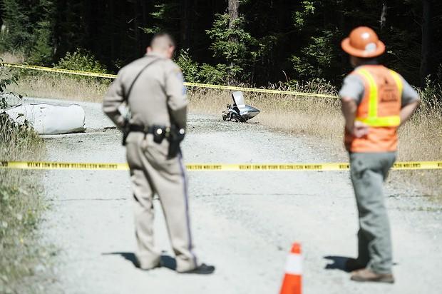 Debris from the Cal-Ore Life Flight crash north of McKinleyville. - MARK MCKENNA