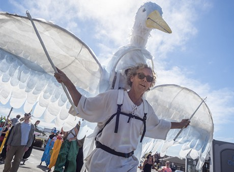 Local puppet master James Hildebrandt, of Arcata, led the All Species Parade with an avian creation. - MARK LARSON