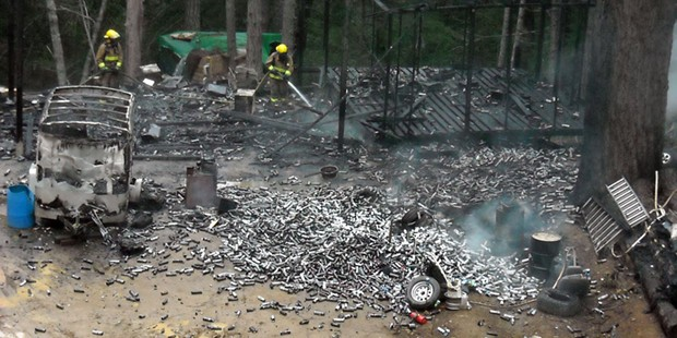 Hundreds of mL butane canisters from a 2015 hash lab explosion. - HUMBOLDT COUNTY SHERIFF'S OFFICE