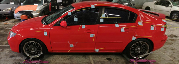 The bullet-riddled Mazda 3 Clayton Lasinski allegedly stole from Sole Savers. - EPD