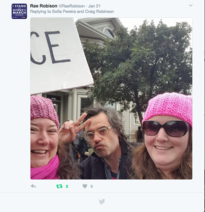 Rae Robison and Megan Johnson snap a selfie with Jemaine Clement at the Eureka Women's March on Saturday, Jan. 21. - RAE ROBISON