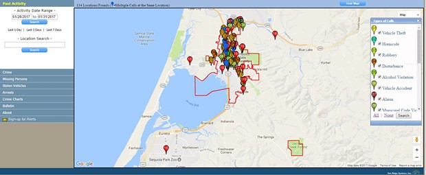A screenshot of the Citizen RIMS program. - CITY OF ARCATA WEBSITE