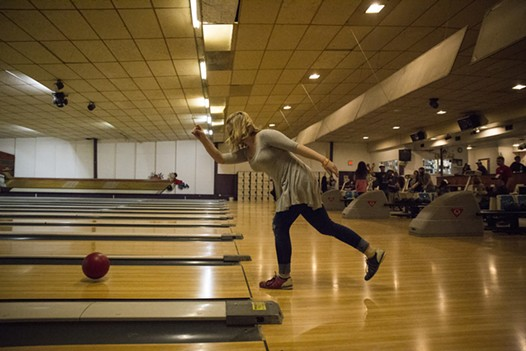 Kitt Roberts, a student at College of the Redwoods, bowling at the LeBOWLski bowling night. - SAM ARMANINO