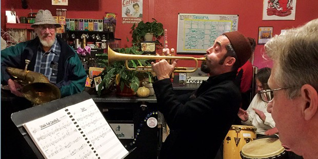 The Baraka-Leone Quartet: Don Baraka (sax/flute), Val Leone (guitar), Steve Phines (bass) and Doug Kamprath (drums) hosts Jazz Jam at Blondie's, Sunday, Feb. 26 at 6 p.m. Free.