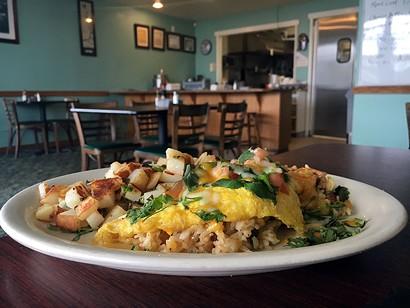 Ham and egg fried rice omelet. - JENNIFER FUMIKO CAHILL