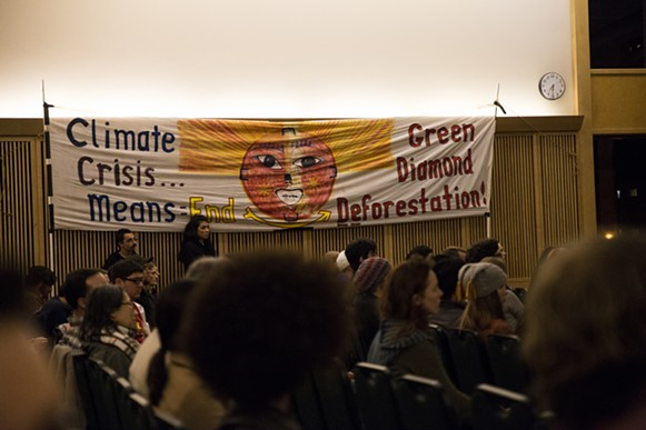 The event was organized by Climate Crisis and HSU's Green club. Banners were displayed inside the KBR while Jill Stein discussed politics on March 8. - SAM ARMANINO