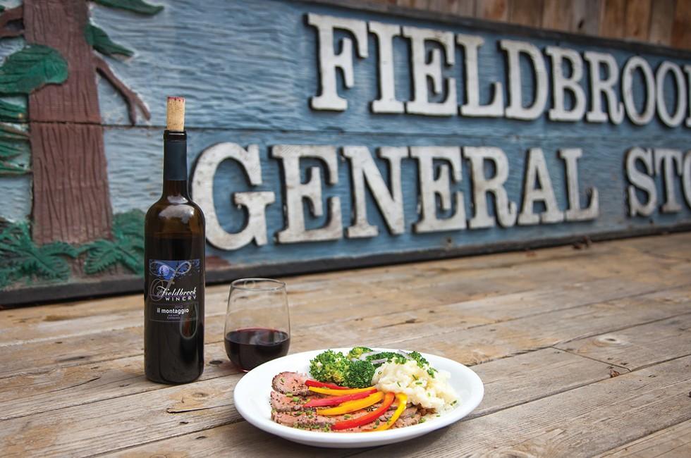 Tri-tip steak and Fieldbrook wine. - AMY KUMLER