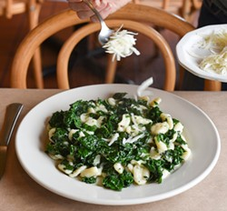 Oriechiette with kale and pecorino at La Trattoria. - PHOTO BY DREW HYLAND