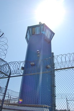 One of Pelican Bay's 11 perimeter guard towers. - FILE