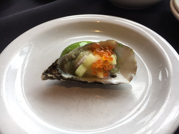 Cucumber gazpacho on an Oyster from Five Eleven. - JENNIFER FUMIKO CAHILL