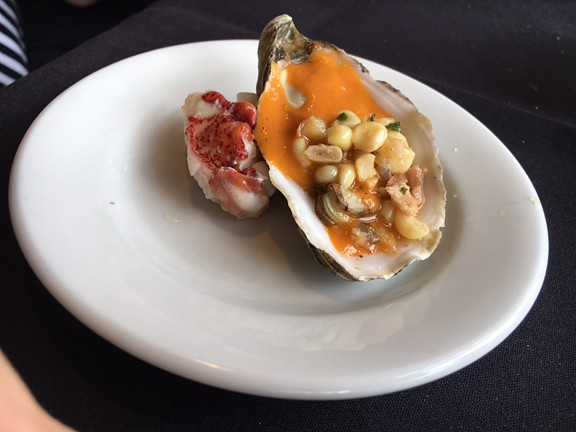 A luxe lobster and Oyster dish from Five Eleven. - JENNIFER FUMIKO CAHILL