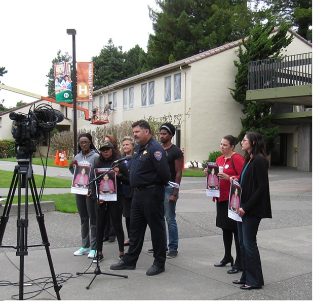 APD chief Tom Chapman addresses reporters on HSU quad. - LINDA STANSBERRY