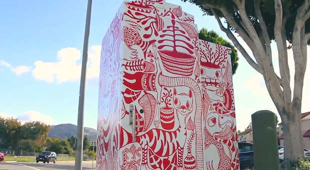 One of San Luis Obispo's gussied up utility boxes. - SLOCITY.ORG