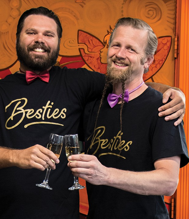 Aaron Ostrom (left) of Pacific Outfitters, winner of Best Outdoor Gear Store and Best Sporting Goods Store, with pal Jason Whitcomb of S.T.I.L., which won a hat trick of Best Head Shop, Best Hobby Shop and Best Vape Shop. - PHOTO BY JILLIAN BUTOLPH