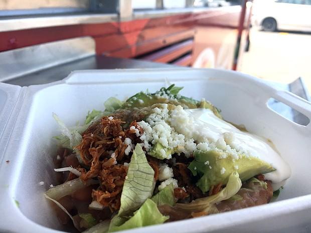 Chicken tinga sopes with green salsa. - JENNIFER FUMIKO CAHILL