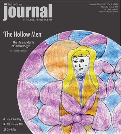 This week's cover is a drawing by Daren Borges. The headline, 'The Hollow Men,' is a title of a work by his favorite poet, T.S. Elliot.