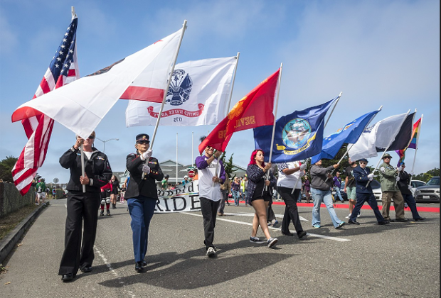 The Redwood Veterans Honor Guard marching in the 2016 Pride parade. - PHOTO BY MARK LARSON