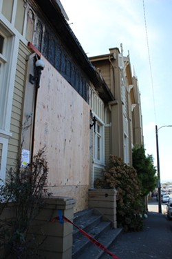 The boarded up front porch of the Arcata Presbyterian Church on 11th and G streets. - THADEUS GREENSON
