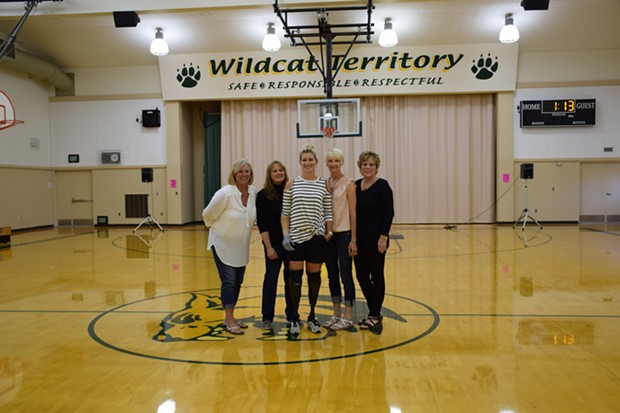 From left to right, Locatelli (middle) is flanked by her G.L.O.W. team: Cheryl Gionden, Roberta Marcelli, Kathi Figas and Linda Sundberg. - LINDA STANSBERRY