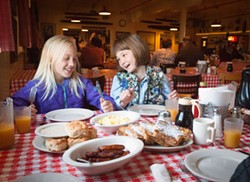 Eating like lumberjacks at the Samoa Cookhouse. - MARK MCKENNA