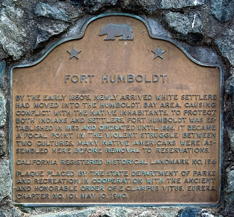 Fort Humboldt's historic marker. - WIKIPEDIA