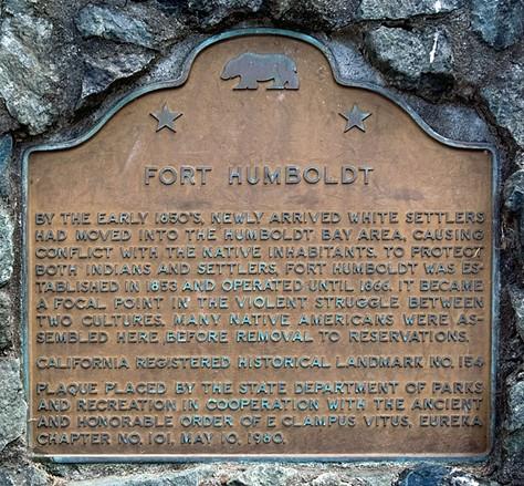 Fort Humboldt's historic marker. - WIKIPEDIA
