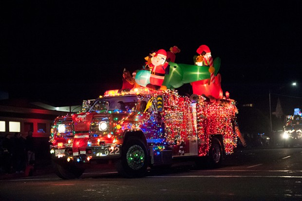 Bright, bright lights at the KEKA Christmas Truckers Parade. - PHOTO BY MARK MCKENNA