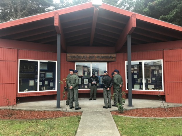MH-65 Dolphin helicopter pilots from Coast Guard Air Station Humboldt Bay honor those lost in a helicopter crash 53 years ago today. - COURTESY OF THE COAST GUARD