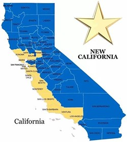 "The ""New California"" and the just plain ""California"" proposed by New California. - MAP BY NEW CALIFORNIA"