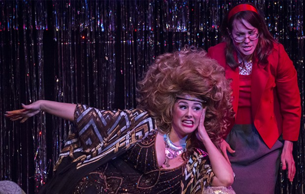 Sarah McKinney as Velvet Q. Jones and Alyssa Hughlett as her dowdy, clumsy assistant Nancy. - PHOTO BY MARK LARSON