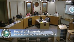 Screenshot from the Feb. 6 Board of Supervisors meeting.