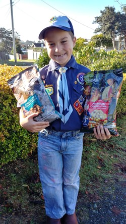 Eight-year-old Noah showing off his Scout corn. - SUBMITTED