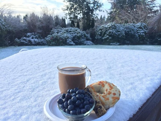 A breakfast view of the snow from Fortuna. - BETTY BRIM