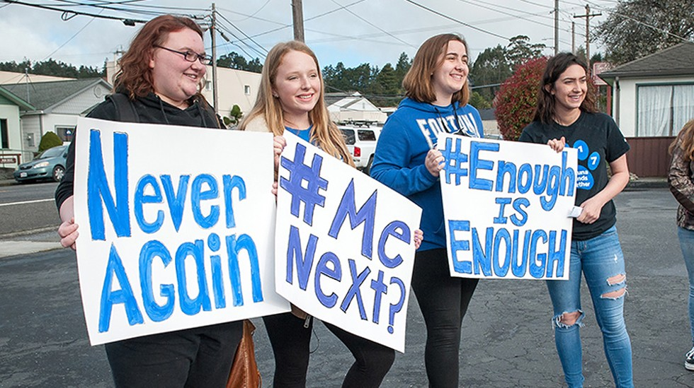 Fortuna High School students protest gun violence - PHOTO BY MARK MCKENNA