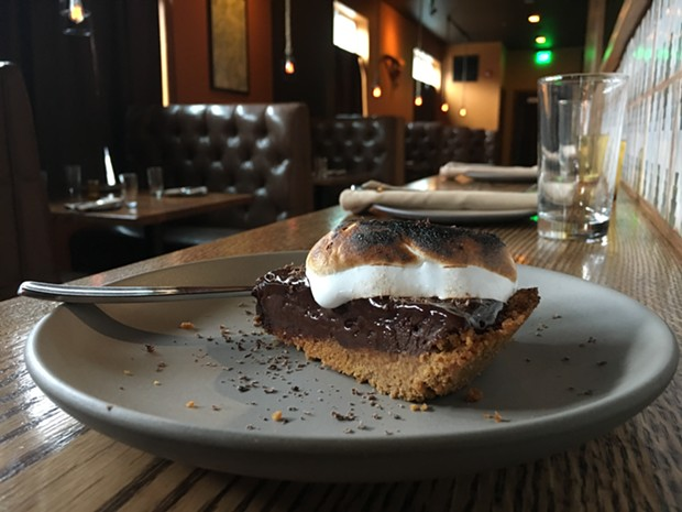 A wedge of s'more pie. - JENNIFER FUMIKO CAHILL