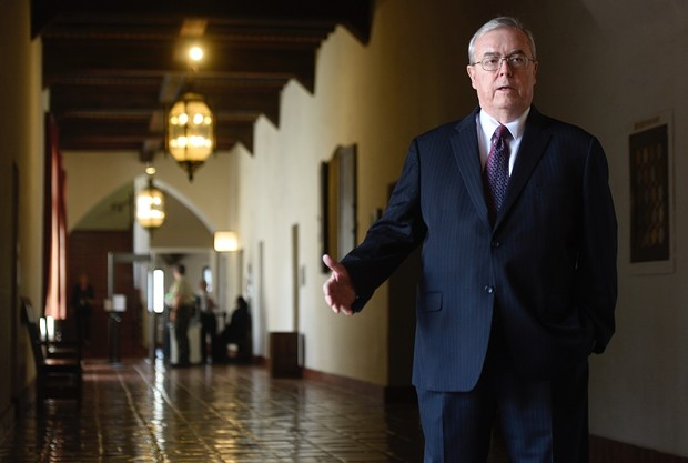 Tom Parker pictured at the Santa Barbara Courthouse. - PAUL WELLMAN/SANTA BARBARA INDEPENDENT