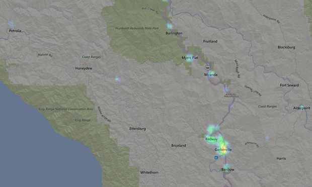 Light map from March 2013 for Southern Humboldt. - LIGHTPOLLUTIONMAP.INFO