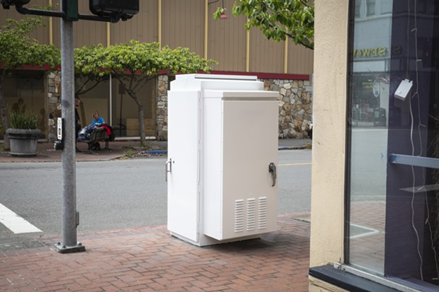 """The now white utility box near the corner of Fifth and G streets that once showcased """"Cat Food."""" - SAM ARMANINO"""
