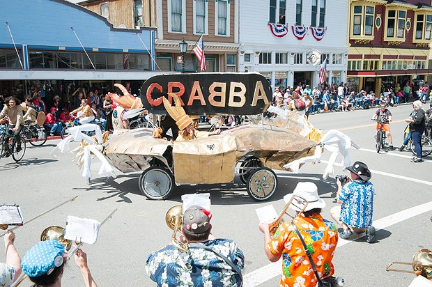 Team CRABBA and others celebrated a glorious crossing of the Ferndale finish line. - PHOTO BY MARK MCKENNA
