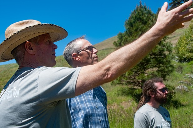 Robert May explains to the Congressman some of the issues that cannabis farmers are facing. - KYM KEMP