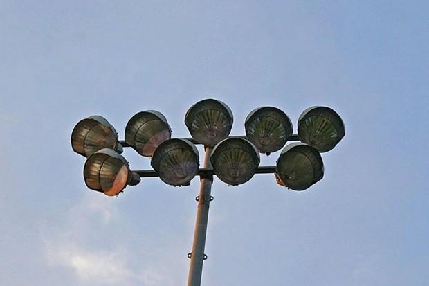 Ballpark lights on the fritz Saturday night. - PHOTO BY MATT FILAR