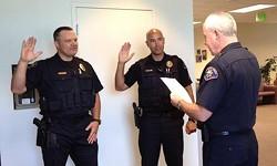 Jacy Tatum is sworn in as a Rohnert Park police sergeant in July 2015. - CITY OF ROHNERT PARK POLICE & FIRE FACEBOOK PAGE