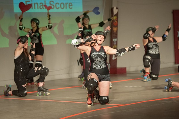 Team Humboldt Roller Derby is Team Romance. - PHOTO BY MARK MCKENNA