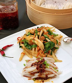 Pin noodles with chili sauce, pan fried or straight from the pot. - PHOTO BY WENDY CHAN