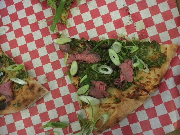 Steak pizza won Pizza Gago Best Non-oyster. - PHOTO BY JENNIFER FUMIKO CAHILL