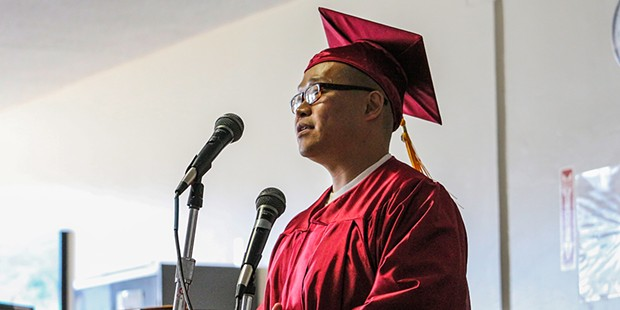 David Nguyen, one of the first two graduates from the Pelican Bay Scholars Program, told the audience at his commencement ceremony that he dared to dream and that he dared the other inmates to dream, too.